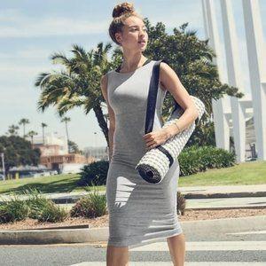 Athleta Santorini Midi Solid Dress Size Large Grey